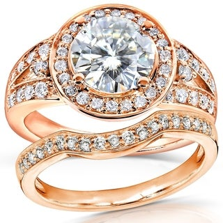 Annello 14k Rose Gold Round-cut Forever Brilliant Moissanite and 1/2ct TDW Halo Diamond Bridal Set Rings