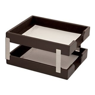 Econo Line Dark Brown Leather Double Letter Tray Set