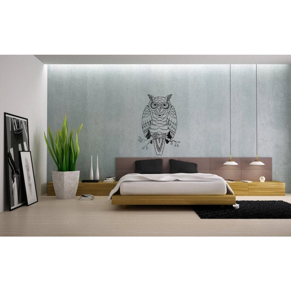 Angry Owl Vinyl Sticker Wall Art