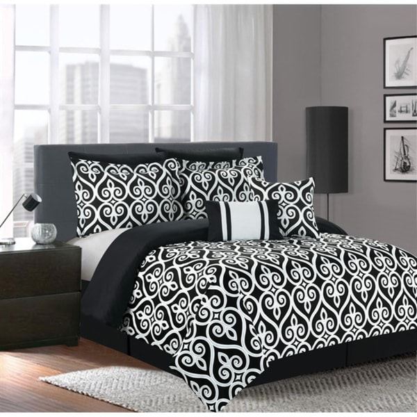 Hamilton Black/White 7-piece Comforter Set