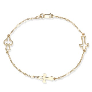 14k Yellow Gold Open Cross and Cable Chain 7-inch Bracelet