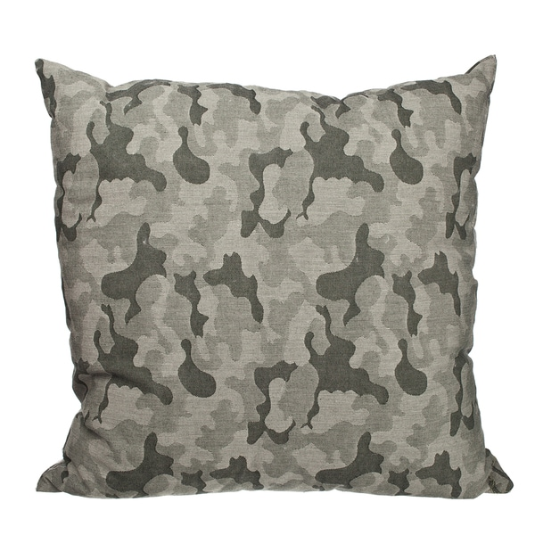 Green Camo Jacquard 18-inch Throw Pillow
