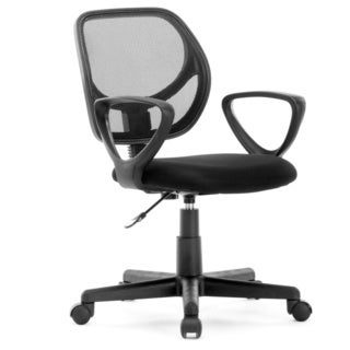 idee Mesh Task Chair with Armrest, Black, MLC02B