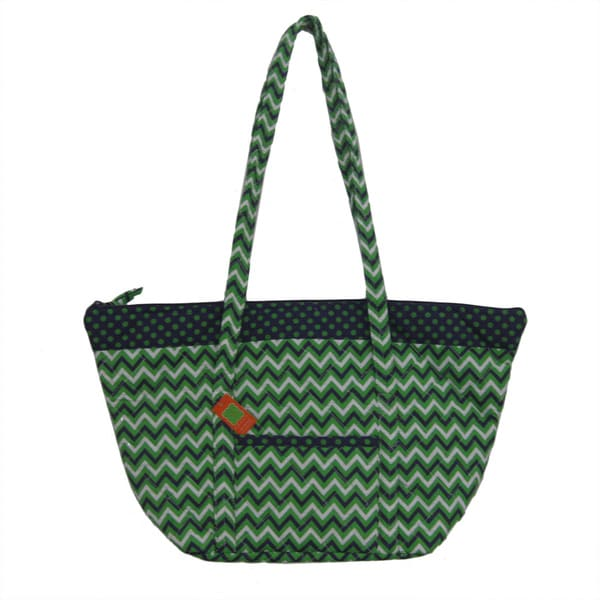 Gouden Krullen Navy and Green Dot/ Chevron Tote Bag