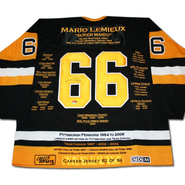 NHL Pittsburgh Penguins Mario Lemieux Career Jersey