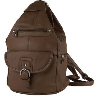 Convertible Leather Backpack Shoulder Bag - L
