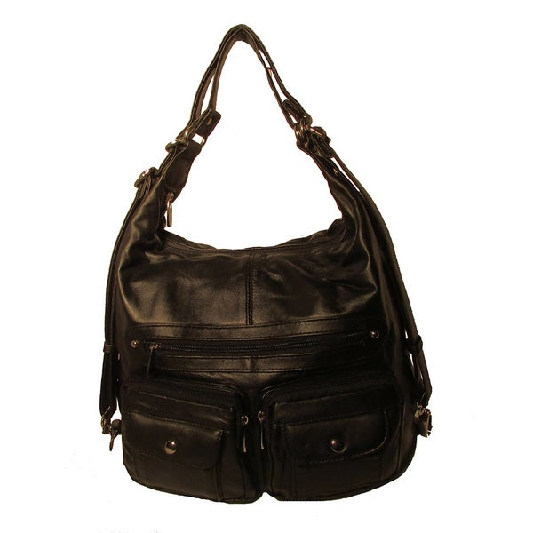 Convertible Leather Backpack Shoulder Bag