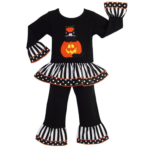 AnnLoren Boutique Girls' Halloween Black Cat Pumpkin Outfit