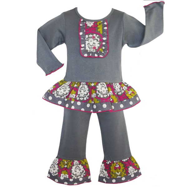 AnnLoren Boutique Girls' Grey/ Pink Damask Dots Pants Outfit