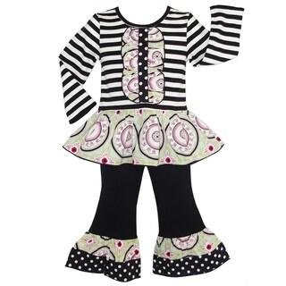 AnnLoren Boutique Girls' Medallion/ Stripes Cotton Outfit