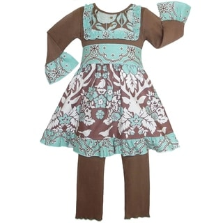 AnnLoren Boutique Girls' Deer Floral Lattice Dress/ Leggings Outfit