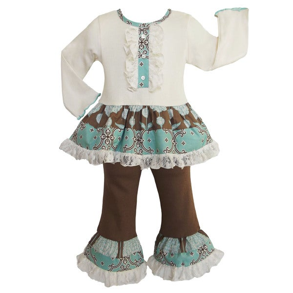 AnnLoren Girls' Boutique Vintage Cream Lace 2-piece outfit