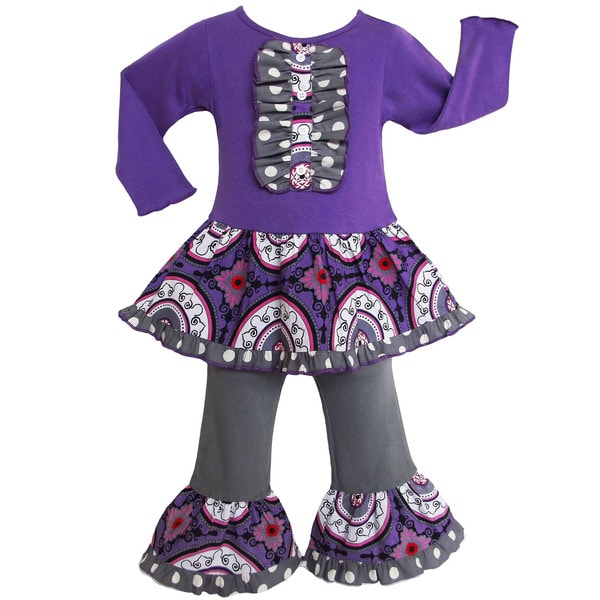 AnnLoren Girls' Boutique Grey Purple Medallion Dress / Leggings Outfit