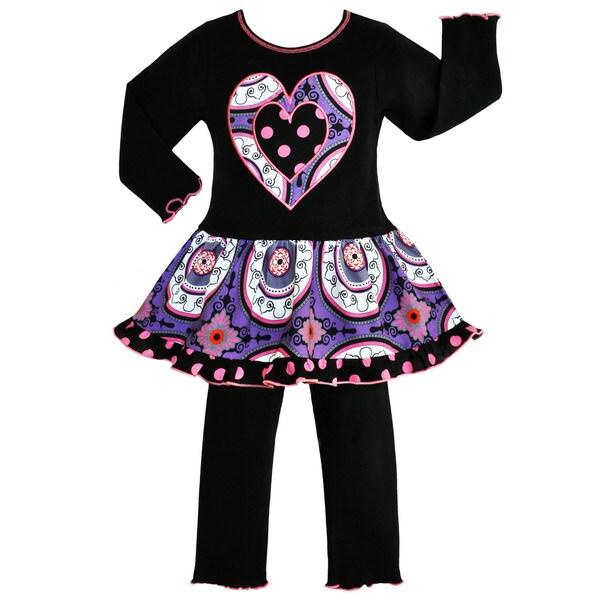 AnnLoren Girls' Boutique Designer Purple Medallion Dress / Leggings Outfit 15571830