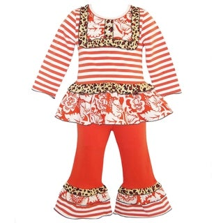 AnnLoren Boutique Girls' Wild Orange Striped/ Leopard Ruffled Outfit