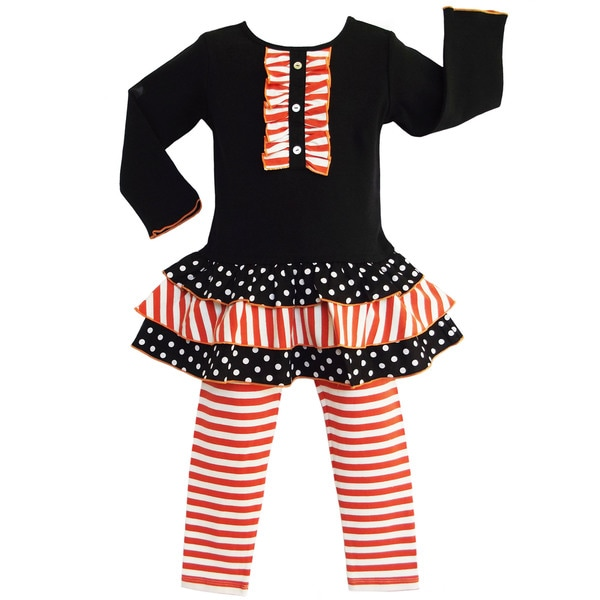 AnnLoren Girls' 2-piece Orange Striped Dress and Leggings Outfit