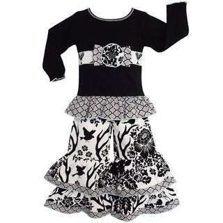 AnnLoren Girls' Black Bird/ Deer/ Lattice Dress/ Ruffle Leggings Outfit