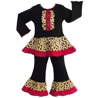 AnnLoren Girls' 2-piece Leopard Ruffled Tunic / Pants Outfit