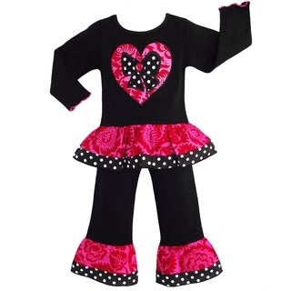 AnnLoren Girls' Boutique Floral/ Polka Dot Heart Outfit