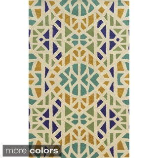 Rizzy Home Geometric Ivory Bradberry Downs 100-percent Wool Hand-Tufted Accent rug (9' x 12')