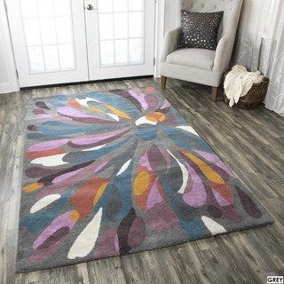 Rizzy Home Abstract Grey Bradberry Downs 100-percent Wool Hand-Tufted Accent rug (8' x 10')
