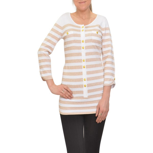 Bellario Women's White/ Gold Lurex Nautical Stripe Pullover