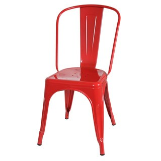 Design Tree Home Metal Bistro Dining Chair in Red [Set of 2]