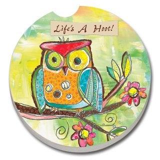 Counterart Absorbent Stone Car Coaster Owl Life's a Hoot (Set of 2)