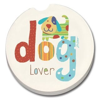 Counterart Absorbent Stone Car Coaster Dog Lover (Set of 2)