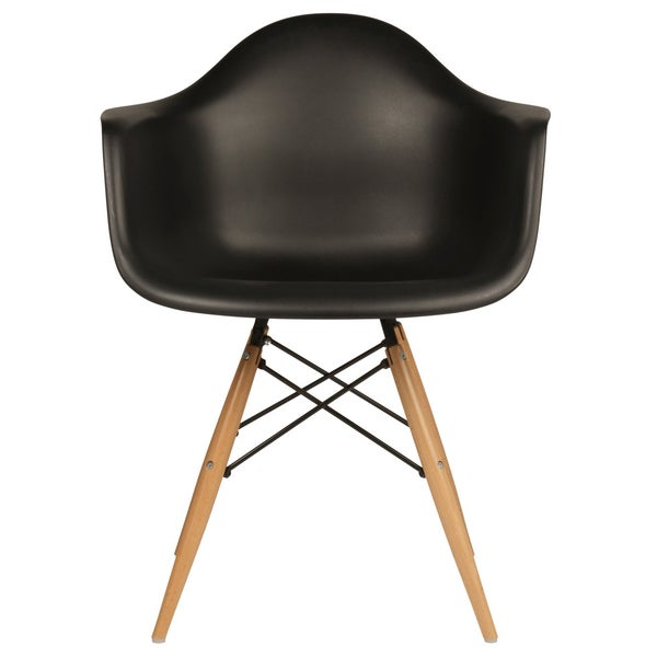 Retro Eames Style Molded Plastic Black Armchair Set of 2