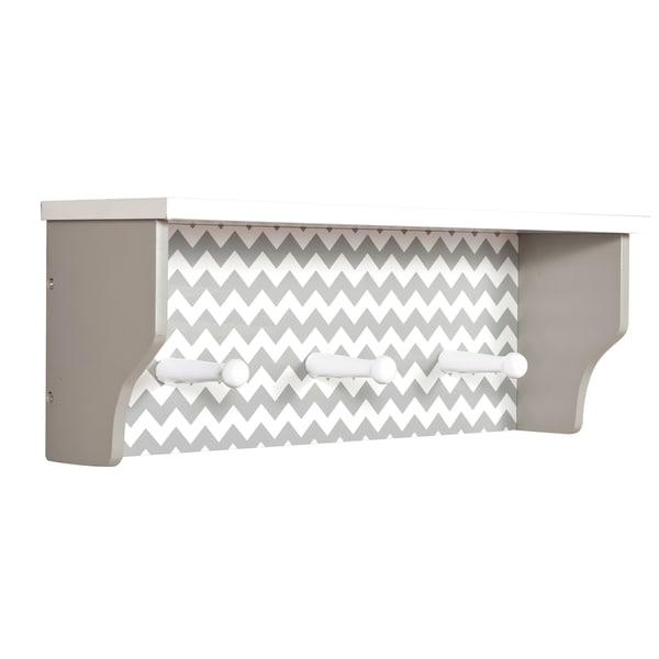 Trend Lab Dove Grey Chevron Shelf with Pegs