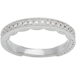 Boston Bay Diamonds 14k White Gold 1/6ct TDW Round Diamond Milgrain Wedding Band (H-I, SI2-I1)