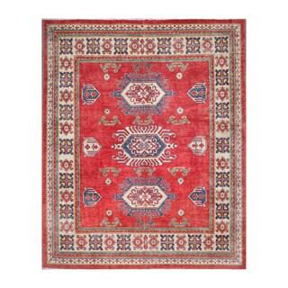 Herat Oriental Afghan Hand-knotted Kazak Red/ Ivory Wool Rug (6'10 x 8'6)