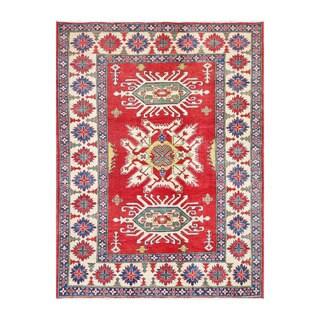 Herat Oriental Afghan Hand-knotted Kazak Red/ Ivory Wool Rug (6'7 x 8'7)