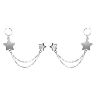 Sterling Essentials Silver Star Earring Cuffs