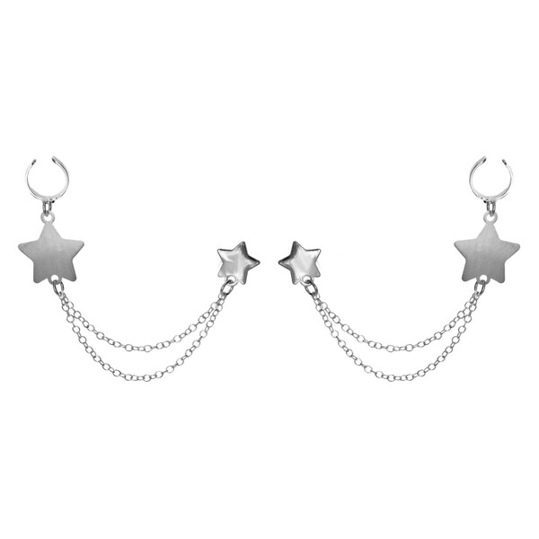 Sterling Essentials Silver Star Earring Cuffs