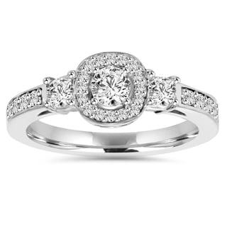 Bliss 14k White Gold 1 1/4 ct TDW Diamond Halo 3-stone Engagement Ring (H-I, I1-I2)