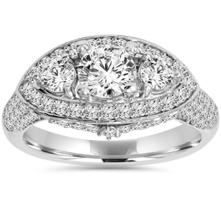 14k White Gold 1 3/4ct TDW Diamond Three Stone Vintage Halo Engagement Ring (I-J, I2-I3)