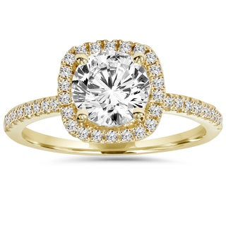 Bliss 14k Yellow Gold 2 ct TDW Clarity Enhanced Diamond Halo Engagement Ring (H-I, I1-I2)