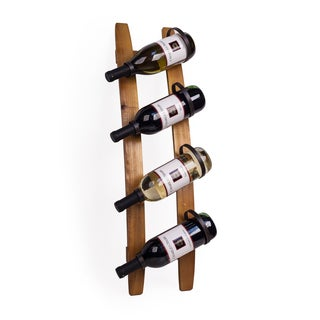 Danya B Vertical Double Stave Wood and Iron Rustic 4 Bottle Wall Mount Wine Holder