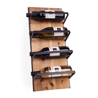 Danya B Wall Mount Wood and Iron Rustic 4 Bottle Wine Rack