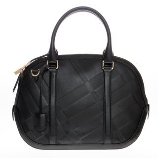 Burberry Leather Small Soft Check Orchard Bowling Bag