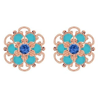 Lucia Costin Rose Gold Over Sterling Silver Blue/ Turquoise Crystal Earrings