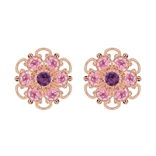 Lucia Costin Rose Gold Over Sterling Silver Light Pink/ Violet Crystal Earrings