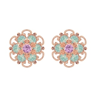 Lucia Costin Rose Gold Over Sterling Silver Lilac/ Mint Blue Crystal Earrings