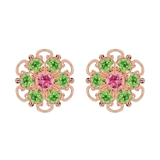 Lucia Costin Rose Gold Over Sterling Silver Pink/ Light Green Crystal Earrings