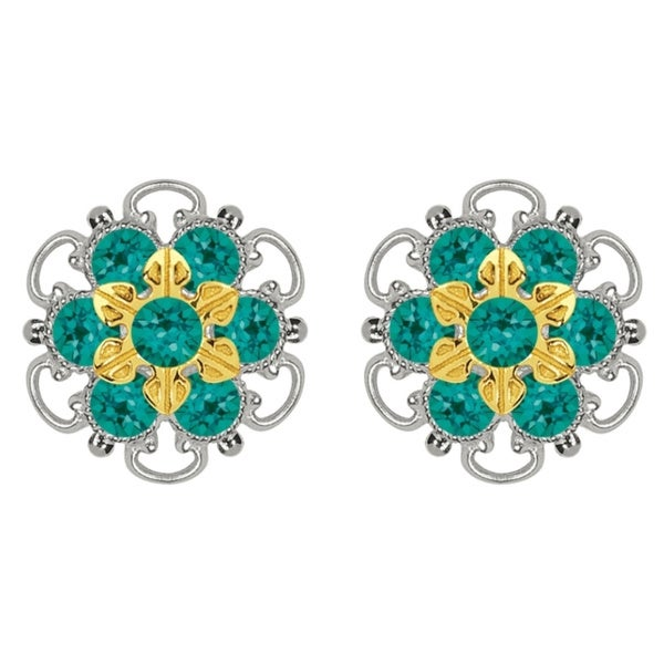 Lucia Costin Gold Over Sterling Silver Stud Green Crystal Earrings