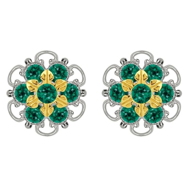 Lucia Costin Gold Over Sterling Silver Green Crystal Stud Earrings