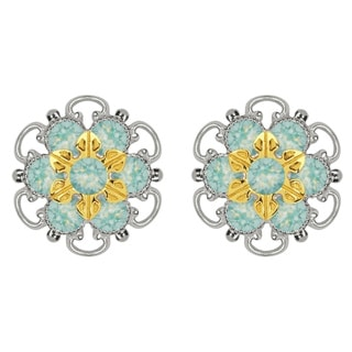 Lucia Costin Gold Over Sterling Silver Mint Blue Crystal Stud Earrings