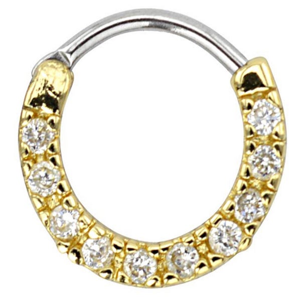 Supreme Jewelry 16G Gold Septum Clicker with Stones